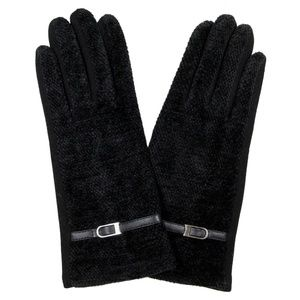 Black Chenille gloves /buckle detail. JUST REDUCED